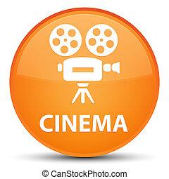 Cinema (video camera icon) special orange round button
