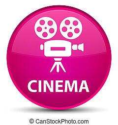 Cinema (video camera icon) special pink round button