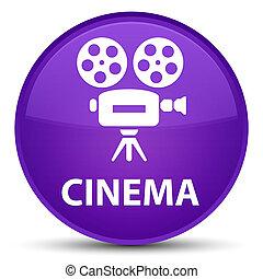 Cinema (video camera icon) special purple round button