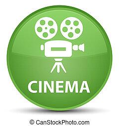 Cinema (video camera icon) special soft green round button