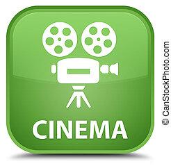 Cinema (video camera icon) special soft green square button