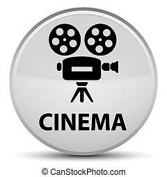 Cinema (video camera icon) special white round button