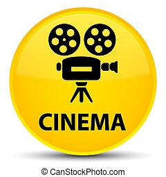 Cinema (video camera icon) special yellow round button