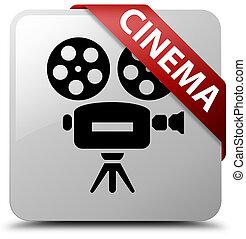 Cinema (video camera icon) white square button red ribbon in corner