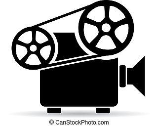 Cinema video projector icon - Old retro cinema video...