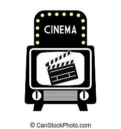 cinema vintage television clapper pictogram