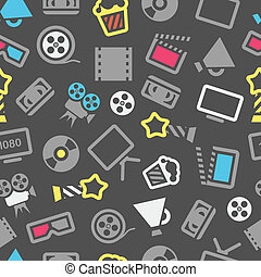 Cinema web silhouettes seamless pattern