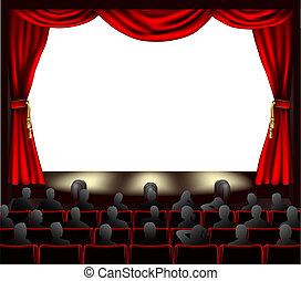 Cinema with audience - Cinema with curtains and audience. ...