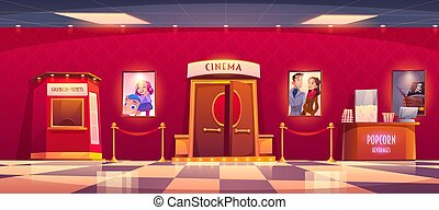 Cinema with cashbox and counter with popcorn. Vector cartoon...