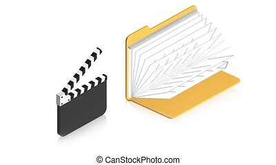 Cinema with folder - 3D animation of a simple objects for...
