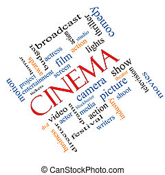 Cinema Word Cloud Concept Angled