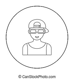 Cinemaddict icon in outline style isolated on white background. Films and cinema symbol stock vector illustration.