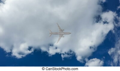 cinemagraph, Airplane fly by sunny day blue sky. loop video,...