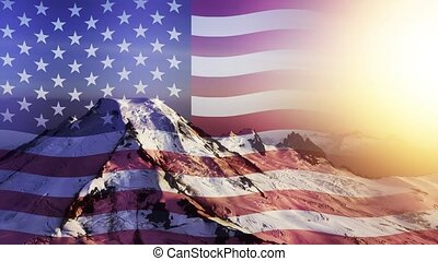 Cinemagraph Continuous Loop Animation. Iconic Aerial View of Mount Baker with American National Flag Overlay during a coloful Sunset. Washington, USA. Concept: Patriotism, Nationalism, Freedom