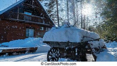cinemagraph, lent, paysage, boucle, vidéo, ensoleillé, maison, forêt, chute neige, hiver, beau