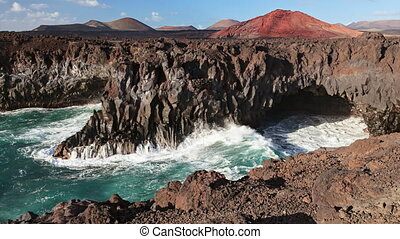 Cinemagraph loop of Los Hervideros caves, Lanzarote, Canary islands