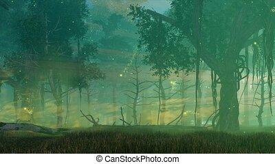 cinemagraph, magique, lumières, forêt, nuit, fée, 4k