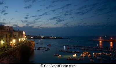 Cinemagraph. night view of seaport at Otranto, southern Italy