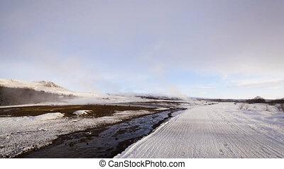Cinemagraph of geyser eruption of Strokkur, Iceland -...