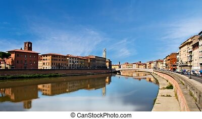 Pisa, Tuscany, Italy. A view of the historical buildings on Arno river.