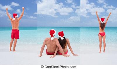 cinemagraph, seamless, heureux, -, loop:, couple, noël, vacances plage, voyage