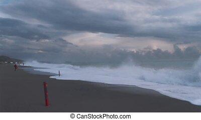 Cinemagraph.4k.Storm waves on the coastline