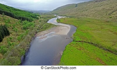 Cinematic aerial shot of the river Orchy