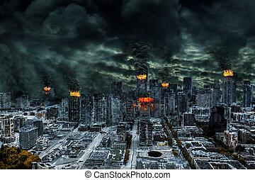 cinematic, afbeelding, van, vernietigde, stad, met, de ruimte van het exemplaar