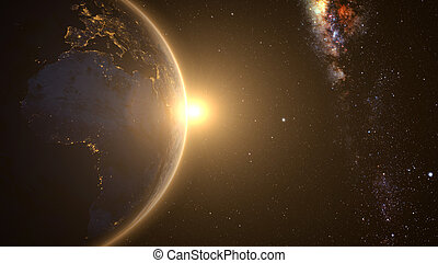 Cinematic and very realistic sunrise seen from space