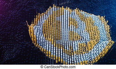Bitcoin symbol being assembled from mined data blocks.