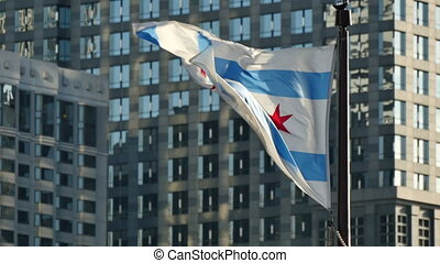 Cinematic Chicago Flag Waving - Flagstaff on the Golden Mile...