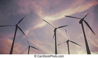 Cinematic establishing shot of a wind farm / turbines -...