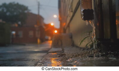 Cinematic establishing shot of an alleyway during a storm. -...