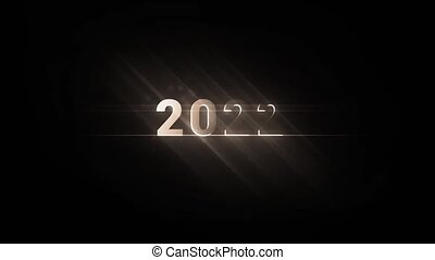 Cinematic intro of the 2022 lettering from the dark in a radiant glow and spotlight beams. 2D animation. Flat cartoon motion graphics. Video footage with dark background.