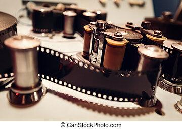 cinematic, maskin, med, film, tejpa, och, reels.