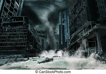 Cinematic Portrayal of a City Destroyed by Hurricane - A...
