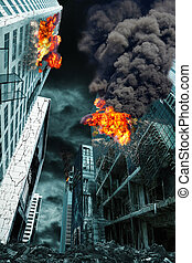Detailed destruction of fictitious city with fires and explosion. Concept of war, natural disasters, judgement day, fire, nuclear accident or terrorism. Vertical orientation.