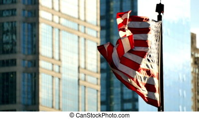 Cinematic United States Flag Waving on Chicago at Sunset