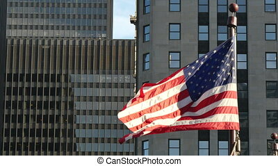 Cinematic United States Flag Waving - Flagstaff on the...