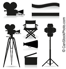 cinematografia, set, silhouette, icone