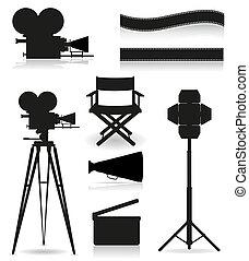 cinematografia, set, silhouette, icone