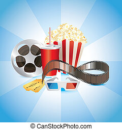 cinematograph, film, popcorn, cola, and 3D glasses photo...