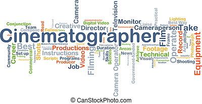 cinematographer, achtergrond, concept