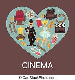 cinematographic, cinéma, intérieur, commercial, symboles, ...