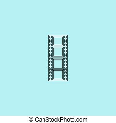 Cinematographic film. Simple outline flat vector icon isolated on blue background