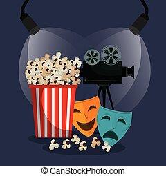 cinematographic, théâtre, masques, icônes