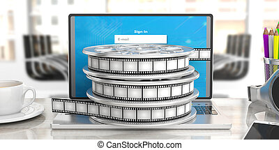Film movie reels on a laptop in a blurry office background, 3d illustration.