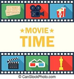 cinepresa, biglietto, tempo, film, popcorn, manifesto, ...