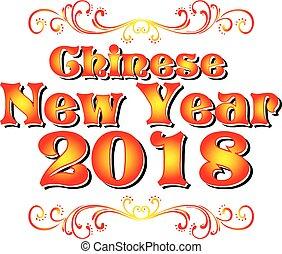 cinese, anno, cane, 2018, logotipo, nuovo