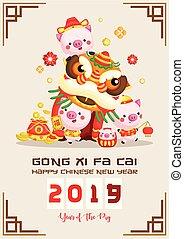 cinese, ballo, augurio, nuovo, maiale, leone, anno, esecuzione, scheda